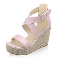 levne Dámská obuv-Dámské Boty Koženka Léto Platforma Klínový podpatek pro Šaty Bílá Modrá Růžová