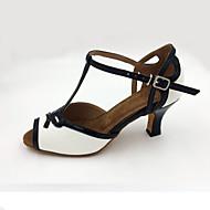 Damer Latin Læder Sandaler Hæle Træning Begynder Professionel Indendørs Optræden Stilethæle Hvid 5,5 cm Kan tilpasses