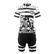 ILPALADINO Femme Manches Courtes Maillot et Cuissard Velo Cyclisme - Noir / Blanc Points Polka Grandes Tailles Vélo Cuissard  / Short Maillot Ensembles de Sport Respirable Séchage rapide Poche arrière