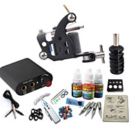 cheap Starter Tattoo Kits-Starter Tattoo Kit 1 steel machine liner & shader Tattoo Machine Mini power supply 1 × 20ml Tattoo Ink 1 x aluminum grip