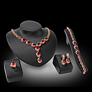 Mujer Diamante sintético Pera Conjunto de joyas Cristal, Brillante, Chapado en Oro damas, Lujo Incluir Fucsia / Rojo Para Boda Fiesta / Oro de 18 K / Diamante Sintético / Anillos / Pendientes
