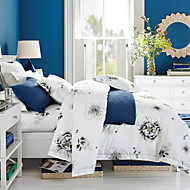 Duvet Cover Sets Leaf 4 Piece Cotton Reactive Print Cotton (If Twin size, only 1 Sham or Pillowcase)