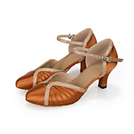 billige Moderne sko-Dame Moderne Kunstlær Høye hæler Opptreden Glimtende Glitter Uthulning Utsvingende hæl Rød Brun Blå 6,5 cm Kan spesialtilpasses