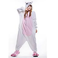 Χαμηλού Κόστους New Cosplay®-Ενηλίκων Πιτζάμα Kigurumi Γάτα Πιτζάμα Onesie Στολές Πολική Προβιά Λευκό Cosplay Για ζώο Πυτζάμες Κινούμενα σχέδια Απόκριες Γιορτές / Διακοπές / Χριστούγεννα