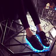 baratos Sapatos de Tamanho Pequeno-Mulheres / Para Meninos / Para Meninas Sapatos Courino Primavera / Verão / Outono Tênis com LED Tênis Velcro / LED para Branco / Prateado / Dourado