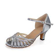 baratos Sapatilhas de Dança-Mulheres Balé / Sapatos de Dança Latina / Sapatos de Jazz Cetim Sandália / Salto / Têni Pedrarias / Presilha / Vazados Salto Carretel Personalizável Sapatos de Dança Cinzento / Preto / Marrom / Couro