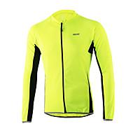 Arsuxeo Muškarci Dugih rukava Biciklistička majica - žuta Svjetlo žuta Sivo crna Bicikl Biciklistička majica Majice Reflektirajuće trake Sportski 100% poliester Brdski biciklizam biciklom na cesti