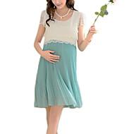 Nad kolena Bavlna / Polyester Krajka / Plisé Těhotenské šaty Kulatý Krátký rukáv
