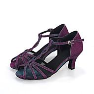 baratos Sapatilhas de Dança-Mulheres Sapatos de Salsa Glitter / Sintético Sandália / Salto / Têni Gliter com Brilho / Presilha / Vazados Salto Carretel Personalizável Sapatos de Dança Azul Marinho / Púrpura / Espetáculo / Couro