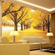 אפקט עור shinny 3D העכשווי עיצוב קיר אמנות יער צהוב טפט ציור קיר גדול על קיר רקע ספת טלביזיה