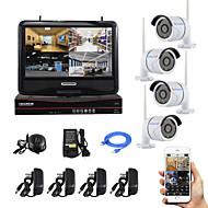 yanse® 10-tuumainen näyttö plug and play langaton NVR kit p2p 720p HD ir hämäränäön turvallisuus IP-kamera WiFi CCTV-järjestelmä