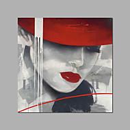 billiga Människomålningar-Hang målad oljemålning HANDMÅLAD - Människor Moderna Inkludera innerram / Sträckt kanfas
