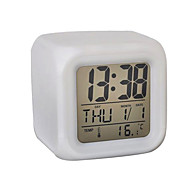 7 Color LED Glowing Cubic Digital Alarm Clock Calendar Thermometer (White, 4xAAA)