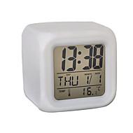 7 cores levou brilhando cúbicos termômetro digital despertador calendário (branco, 4xAAA)