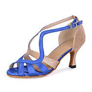 baratos Sapatilhas de Dança-Mulheres Latina Glitter Cetim Sandália Têni Salto Espetáculo Gliter com Brilho Presilha Vazados Salto Carretel Azul Marinho Preto Vermelho