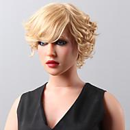 novo ondulado peruca fofo Remy mão elegante cabelo humano curto amarrado perucas Hamor -Top para a mulher