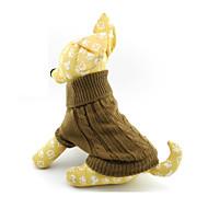 ネコ 犬 セーター 犬用ウェア ソリッド Brown ウール コスチューム ペット用 男性用 女性用