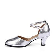 billiga Dansskor-Dam Moderna skor / Sällskap Läder Högklackade Spänne Kubansk klack Går ej att specialbeställas Dansskor Röd / Silver / Guld