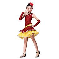 Dječji-Outfits- zaLatin Dance(Crvena / Kava,Pamuk / Polyester,Naborano / Leopard)