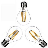 4w e26 / e27 levou lâmpadas de filamento a60 (a19) 4 cob 400lm branco quente 2800-3200k dimmable ac 220-240 ac 110-130v