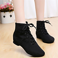 cheap Dancewear & Dance Shoes-Women's Jazz Leatherette Canvas Boots Black Red Non Customizable