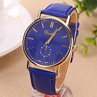 Homens Relógio de Pulso Quartzo PU Banda Preta Branco Azul Vermelho Marrom