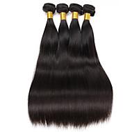 Echthaar Brasilianisches Haar Menschenhaar spinnt Glatt Haarverlängerungen 4 Stück Schwarz