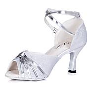 billige Sko til latindans-Kan spesialtilpasses-Dame-Dansesko-Latinamerikansk Ballett-Glimtende Glitter-Kustomisert hæl-Svart Blå Rød Sølv Gull