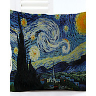cheap Pillow Covers-Van Gogh Star Pattern Linen Pillowcase Sofa Home Decor Cushion Cover (18*18inch)