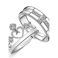 Dame Parringe Forlovelsesring Kærlighed Brude Mode Justérbar kostume smykker Sølv Rhinsten Hjerteformet Krydsformet Smykker Til Bryllup