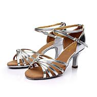 baratos Sapatilhas de Dança-Mulheres Sapatos de Dança Latina / Dança de Salão / Sapatos de Salsa Cetim Sandália Presilha Salto Personalizado Personalizável Sapatos de Dança Marrom / Dourado / Azul Real