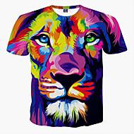 ieftine -Bărbați Rotund - Mărime Plus Size Tricou Animal Imprimeu Leu / Manșon scurt