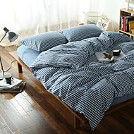 Dark blue Plaid Washed Cotton Bedding Sets Queen King Size Bedlinens 4pcs Duvet Cover Set