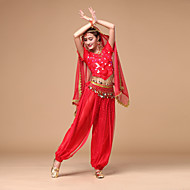Belly Dance Outfits Women's Performance Chiffon Sequin Short Sleeves Natural Top / Pants / Belt
