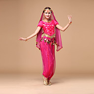 cheap -Belly Dance Outfits Women's Performance Chiffon Sequin Short Sleeves Natural Top / Pants