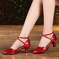 billige Moderne sko-Dame Latin Glimtende Glitter Semsket lær Syntetisk Sandaler Joggesko Høye hæler Innendørs Gummi Spenne Uthult Snøring Bølgemønster Drapert