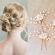 cheap Wedding Headpieces-Pearl Crystal Hair Combs Hair Stick 1 Wedding Special Occasion Headpiece