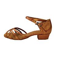 billige Sko til latindans-Dame Latin Sateng Kunstlær Høye hæler Trening Nybegynner Innendørs Spenne Lav hæl Flerfarget Gyldenbrun Svart 2,5 cm Kan ikke