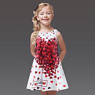 Κοριτσίστικα Εξόδου Στάμπα Αμάνικο Πολυεστέρας Φόρεμα Λευκό