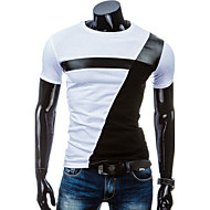 Hombre Deportes Retazos - Algodón Camiseta, Escote Redondo Delgado Bloques Blanco y Negro Blanco L / Manga Corta / Verano