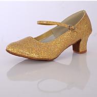 billige Moderne sko-Dame Sko til latindans Glimtende Glitter / Sateng Høye hæler Gummi Tykk hæl Kan spesialtilpasses Dansesko Sølv / Gylden / Innendørs