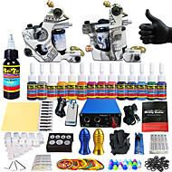 Starter Tatoveringssett 2 x legering tatovering maskin for fôr og skyggelegging Tattoo Machine Mini strømforsyning 14 x 5 ml Tattoo blekk