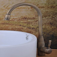 お買い得  アンティーク調銅 Series-コンテンポラリー センターセット 回転可 セラミックバルブ 一つ シングルハンドルつの穴 アンティーク銅, バスルームのシンクの蛇口