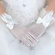 cheap Wedding Gloves-Tulle Wrist Length Glove Bridal Gloves Party/ Evening Gloves With Bowknot Floral