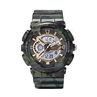 billige Militærur-Herre Digital Militærur Sportsur Kalender Kronograf Selvlysende i mørke Dobbelte Tidszoner LCD Silikone Bånd Regnbue camouflage Mode Sølv
