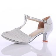 billige Moderne sko-Dame Latin Glimtende Glitter Høye hæler Innendørs Gummi Spenne Kustomisert hæl Sølv Gylden Kan spesialtilpasses