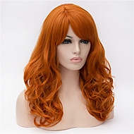 Synthetic Wig Wavy Minaj Style Asymmetrical Capless Wig Golden Orange Synthetic Hair Women's Natural Hairline Golden Wig Medium Length / Long