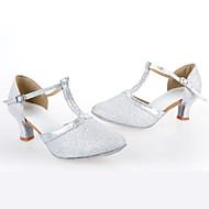 billige Skosalg-Kan spesialtilpasses-Dame-Dansesko-Latinamerikansk-Syntetisk-Kubansk hæl-Sølv / Gull
