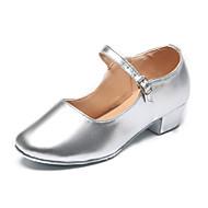 billige Kustomiserte dansesko-Sko til latindans / Moderne sko Lakklær Høye hæler Spenne Flat hæl Kan spesialtilpasses Dansesko Svart / Sølv / Innendørs / Trening