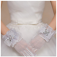 cheap Wedding Gloves-Tulle Wrist Length Glove Bridal Gloves Party/ Evening Gloves With Bowknot